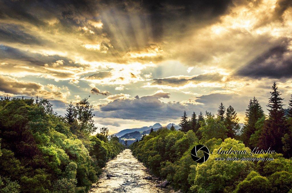 Sunset over river Gail, Carinthia